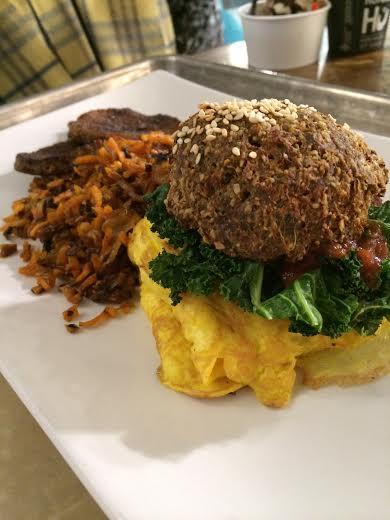Breakfast yummies: Primal Kale, Sausage, and Egg Sandwich on Grain-Free Hu bread, Sweet Potato Hash, and Organic Pork Sausage